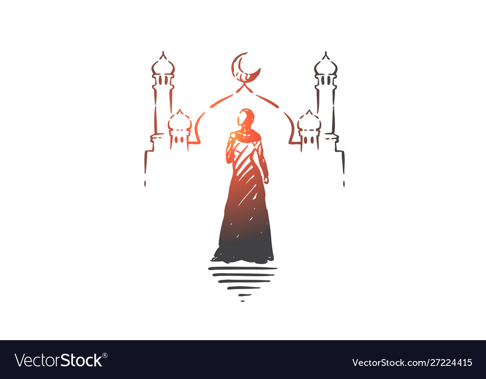 Muslim woman visiting mosque concept sketch hand