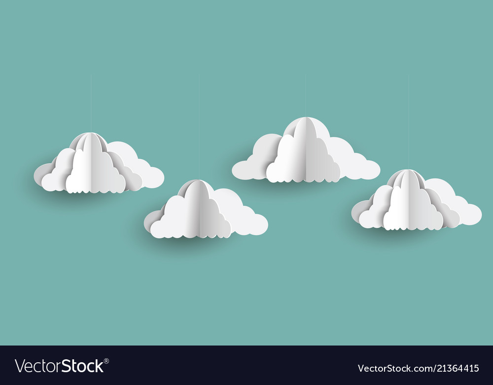 Origami clouds in paper art style on blue sky