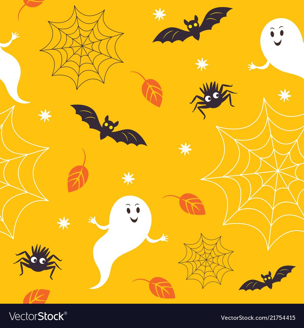 Seamless halloween pattern cute little ghostes