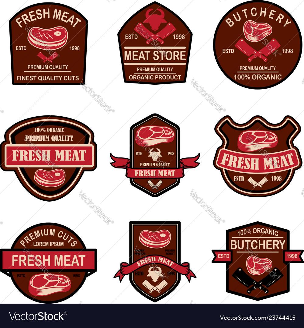 Set of fresh meat labels design element for logo