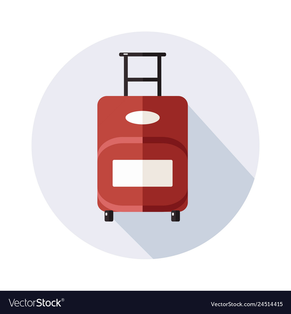 Suitcase icon with long shadow on white