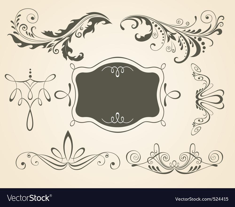 Vintage scrolls and frame des