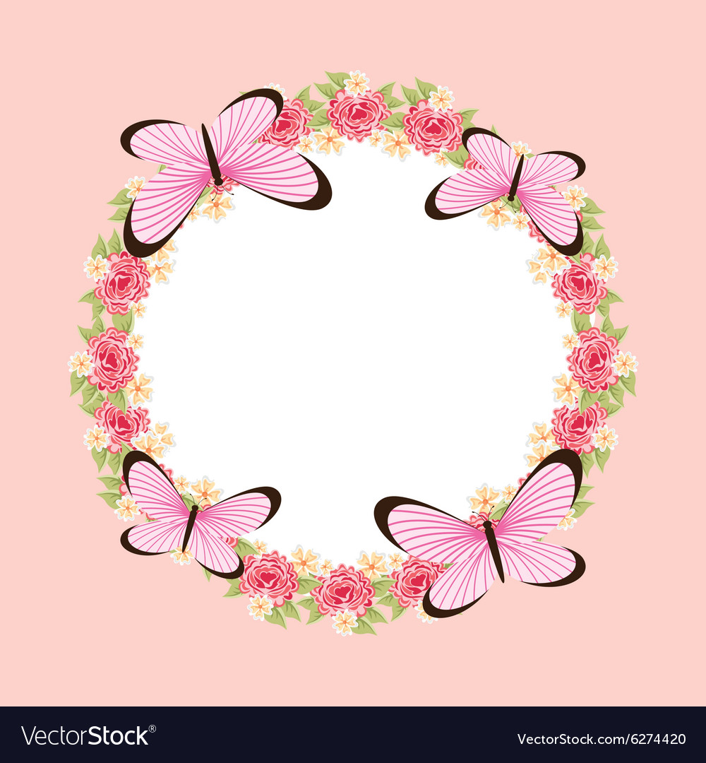 Beautiful butterfly frame Royalty Free Vector Image