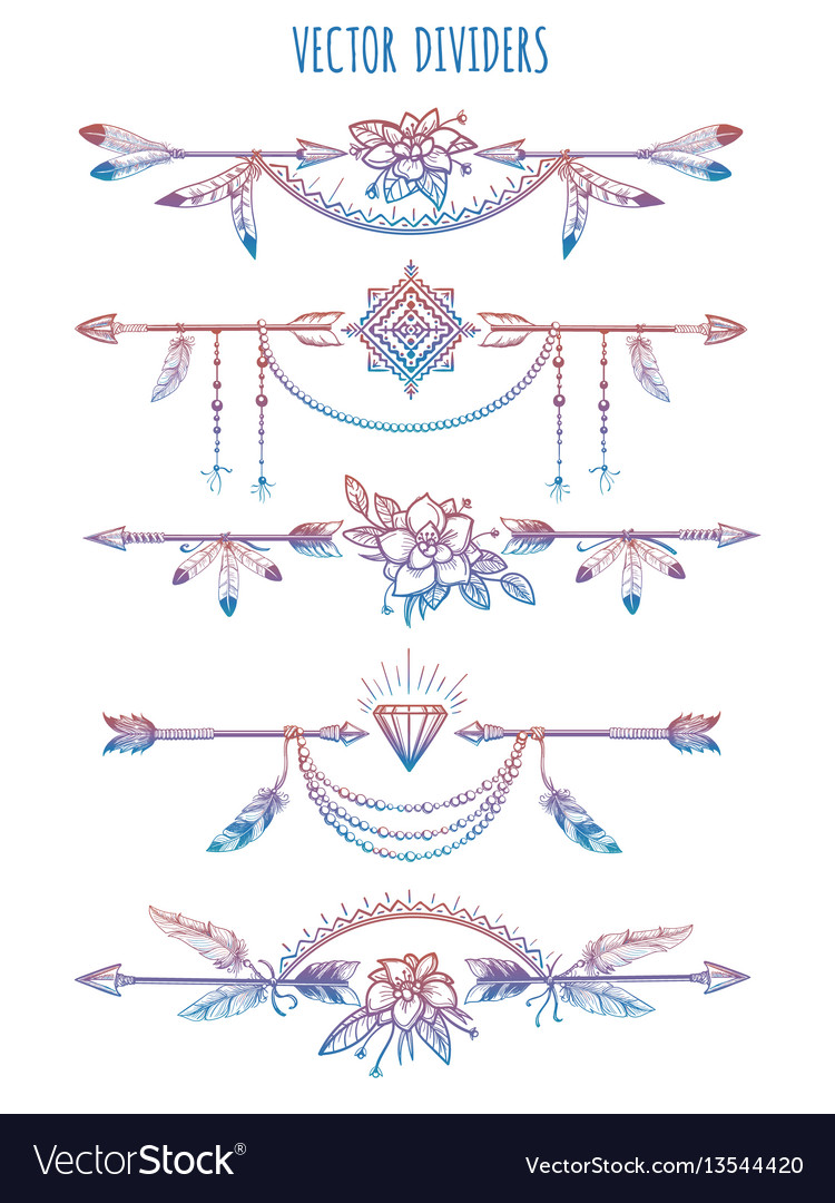 Bohemian dividers with arrows and flowers