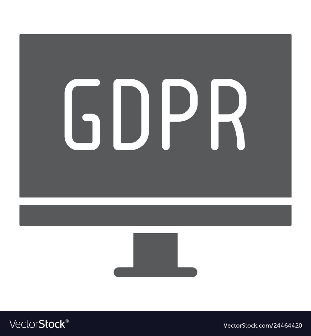 Gdpr monitor glyph icon computer and screen
