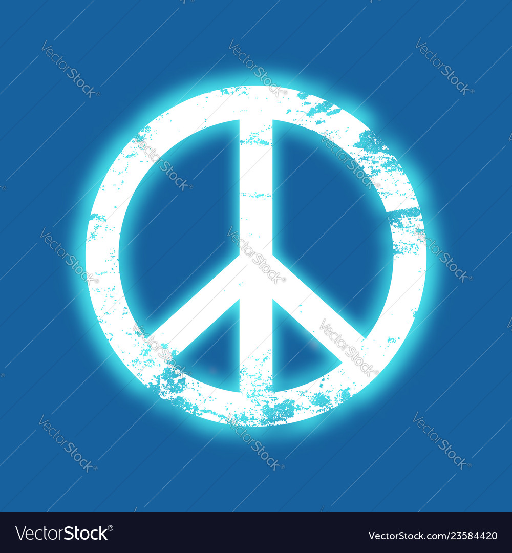 Grunge peace symbol with a blue neon glow vintage