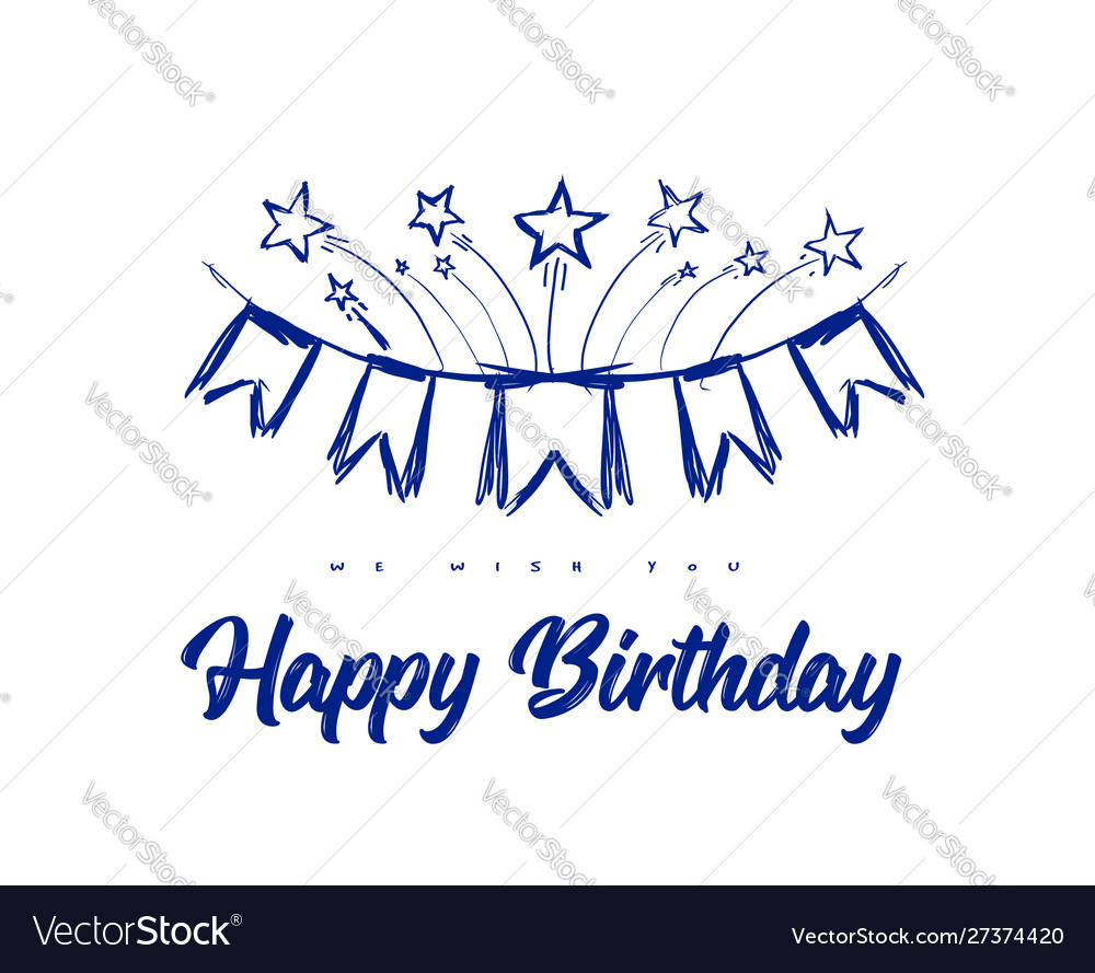 Happy birthday congratulations with flags on