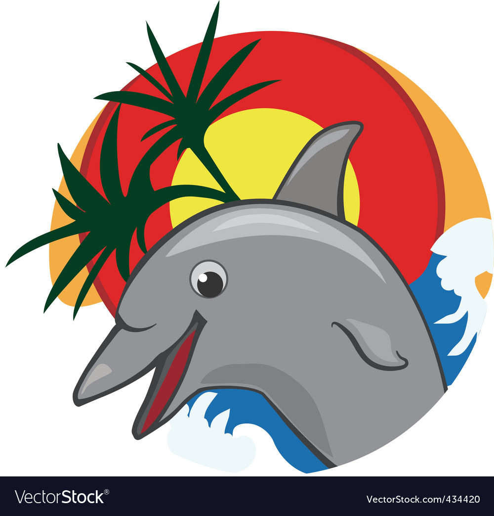 Jumping dolphin color vector illustration Vector Image