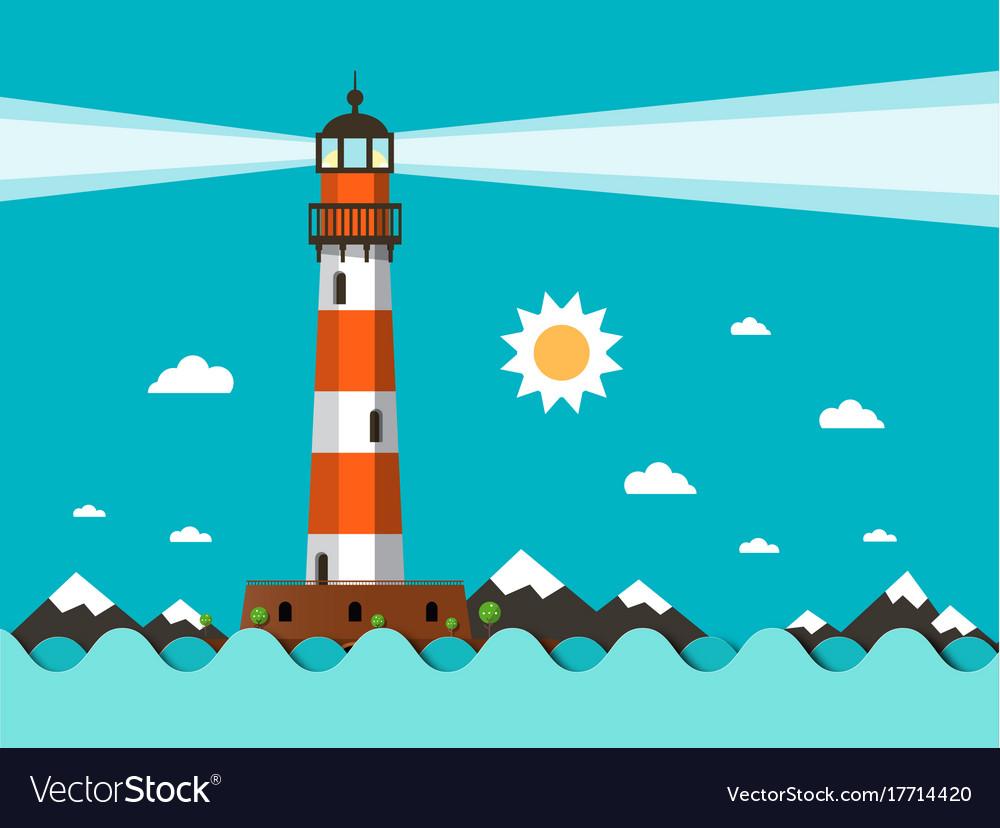 Lighthouse on sea flat design