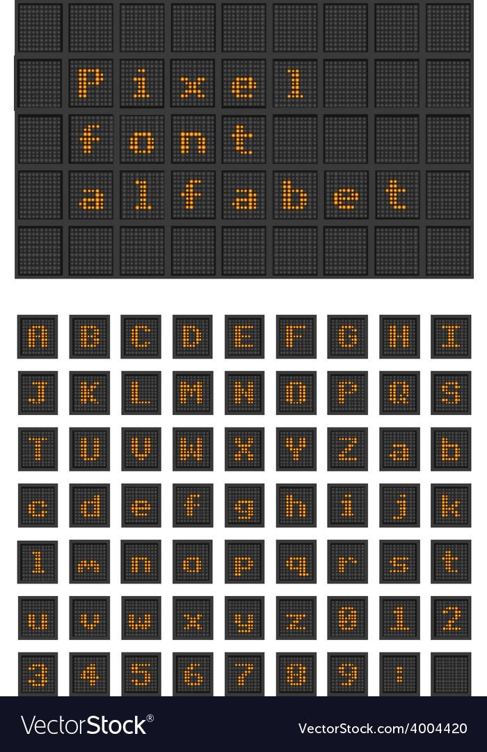 Lighting bulb pixel font alfabet