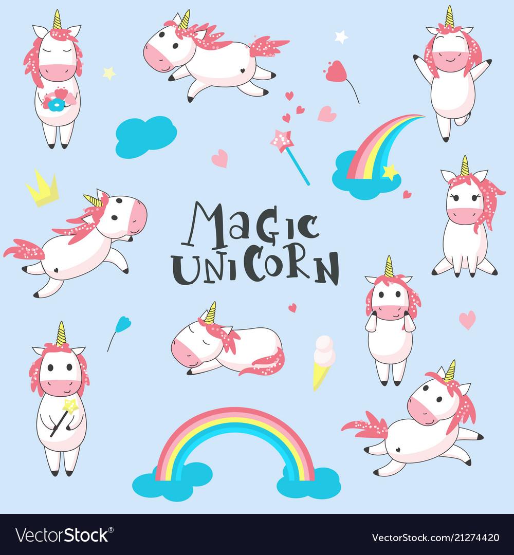 Magic unicorns hand drawn