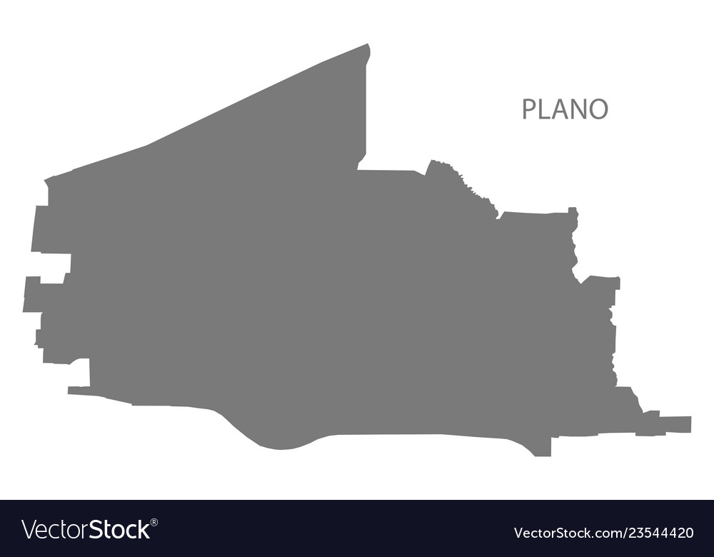 Plano Texas City Map Grey Silhouette Shape Vector Image
