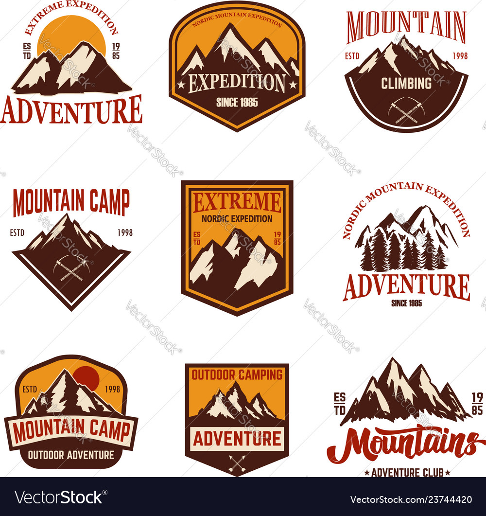 Set of mountain emblems hiking tourism extreme
