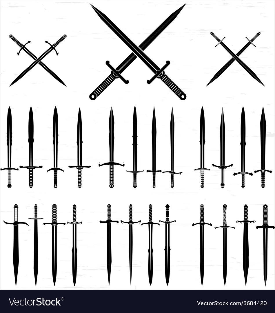 Sword Silhouette Set vector image