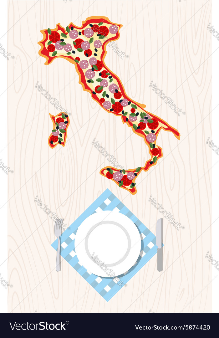 Top view of Italian pizza in shape of a map of vector image