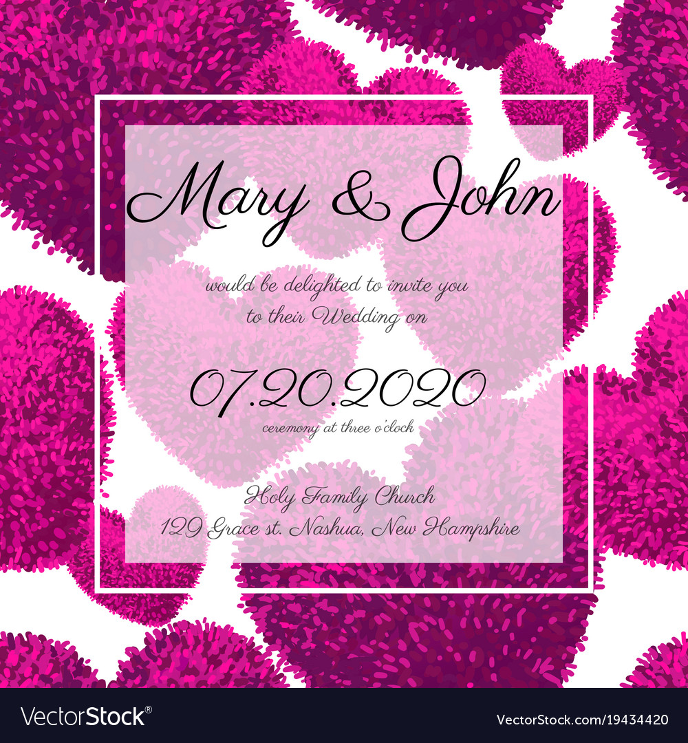 wedding invitations with fluffy hearts royalty free vector