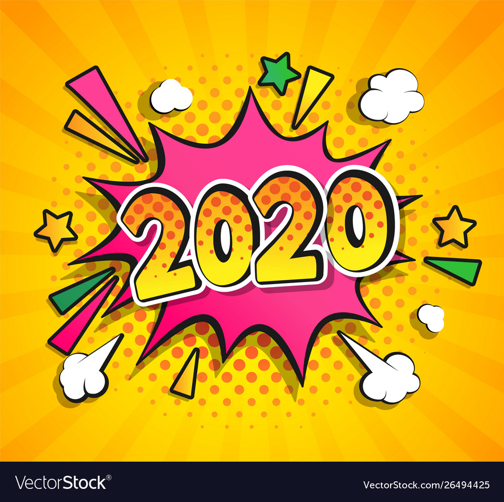 2020 new year boom speech bubble in pop art style