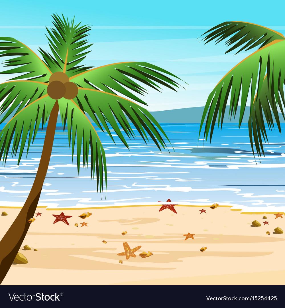Beach with palms sand