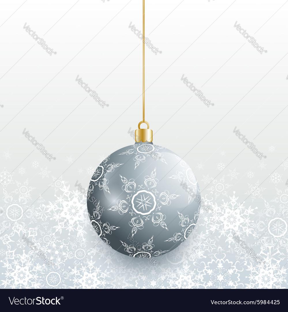 Christmas card with grey christmas ball vector image