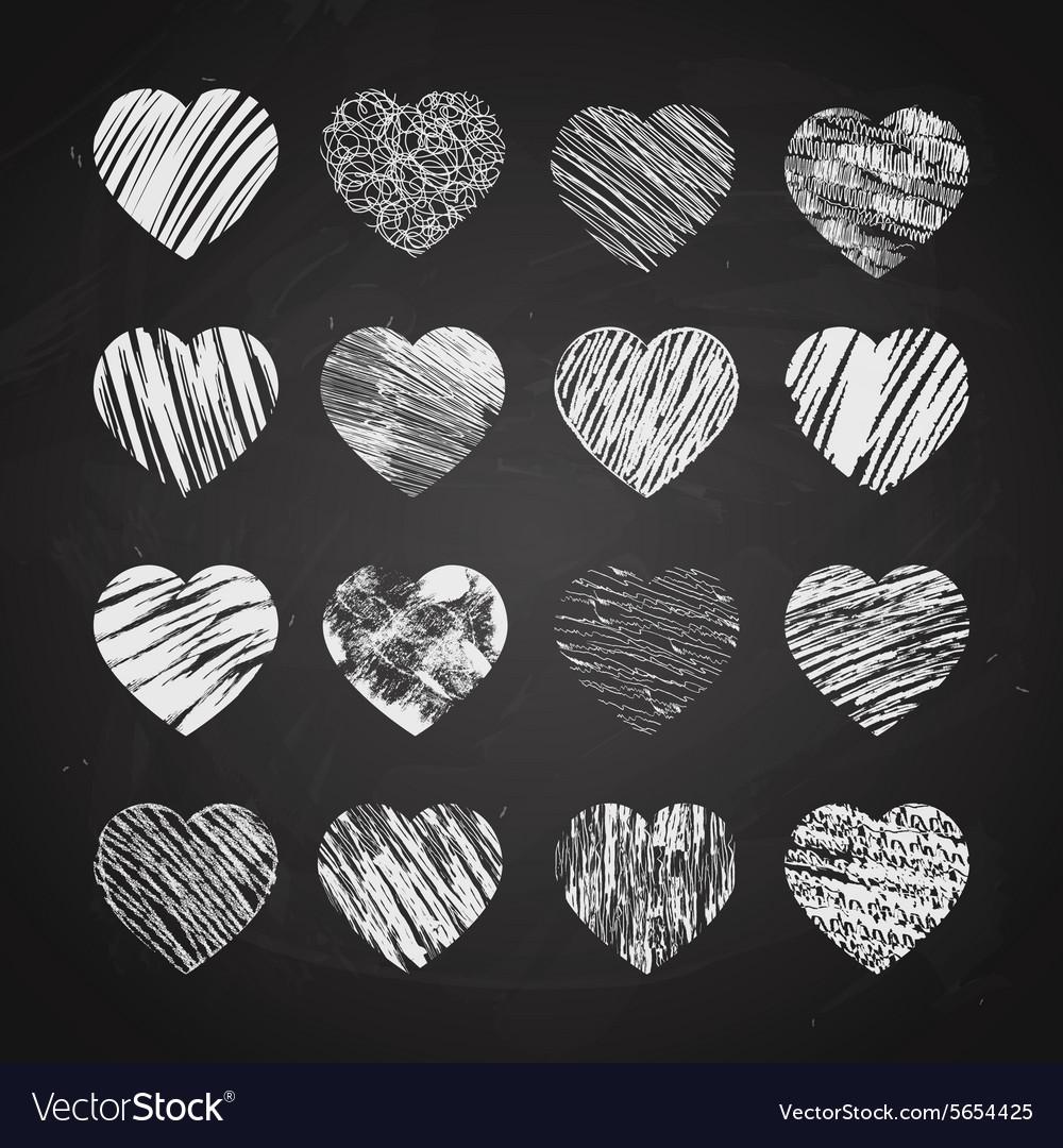 Hand drawn hearts on chalkboard