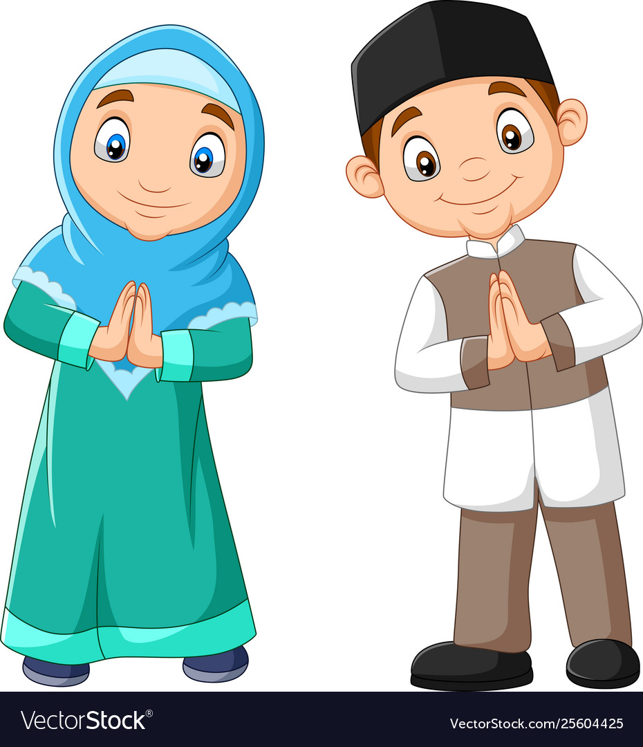 Happy Muslim Kids Cartoon On White Background Vector Image