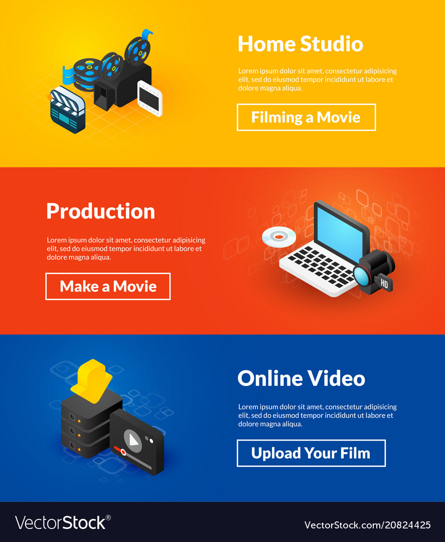 Home studio production and online video banners of