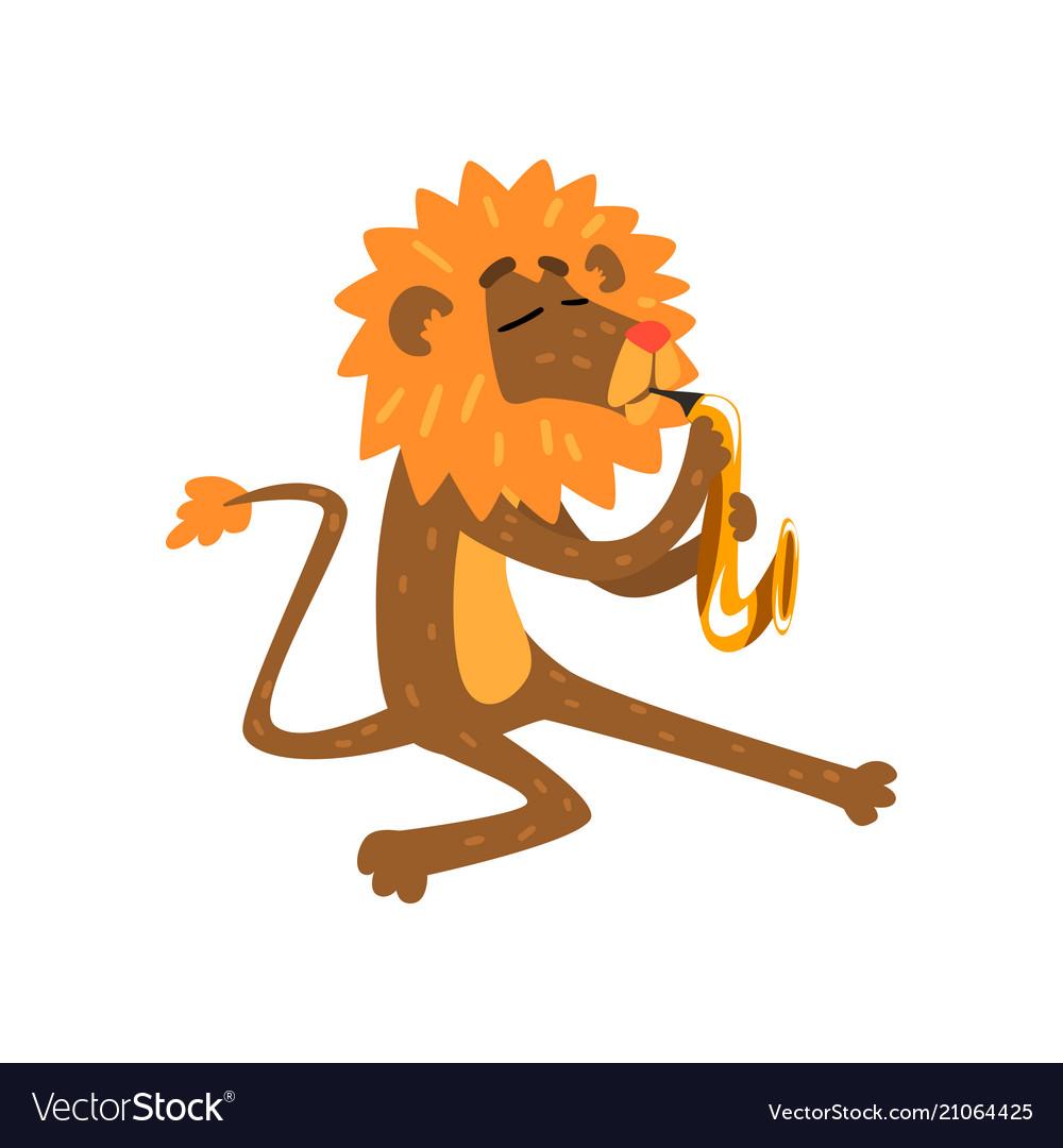 Lion playing saxophone cartoon animal character