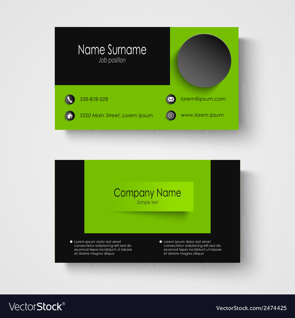 Modern sample green business card template vector image flashek Images