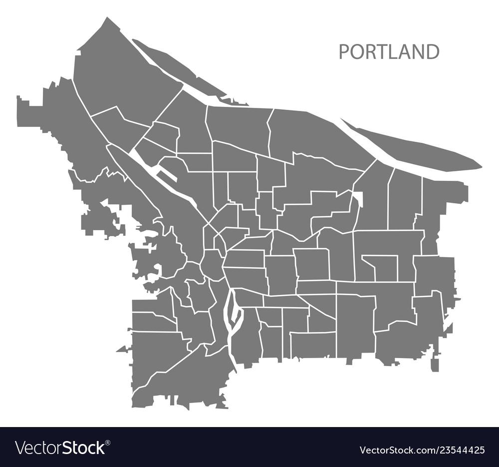 Portland Oregon Map Of Neighborhoods.Portland Oregon City Map With Neighborhoods Grey Vector Image