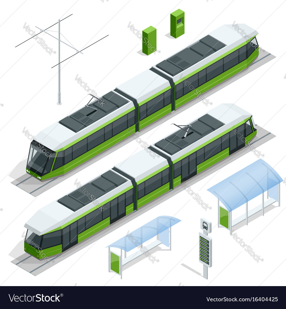 Set of isometric passenger tram train streetcar