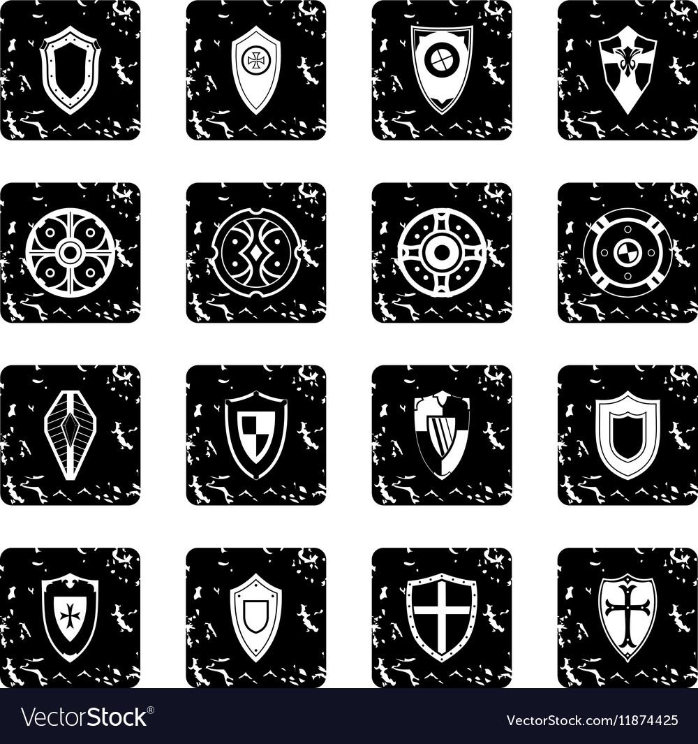 Shields set set icons grunge style