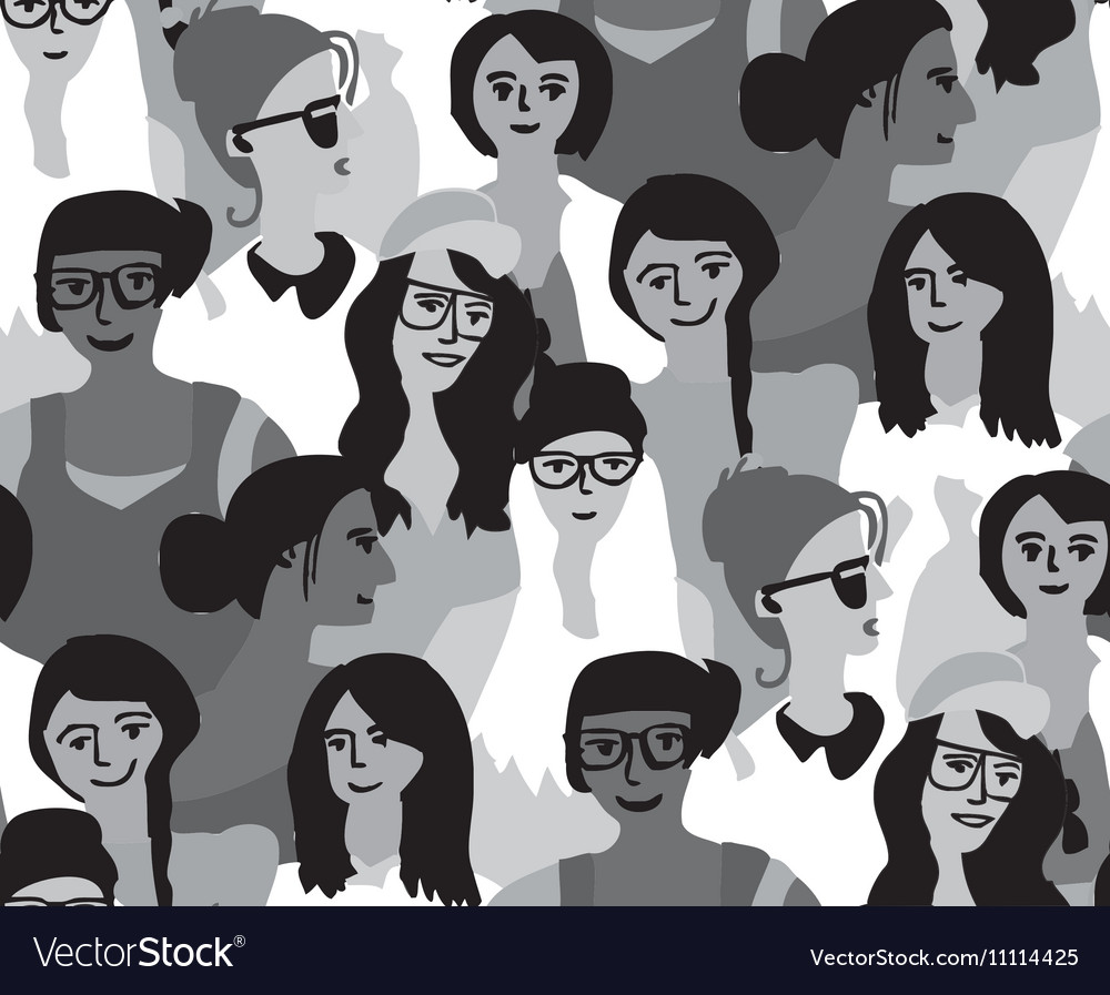 Woman only crowd group gray scale seamless pattern