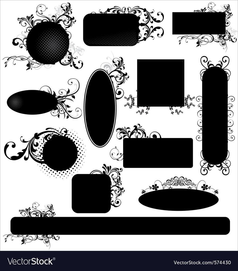 Black floral frames vector image