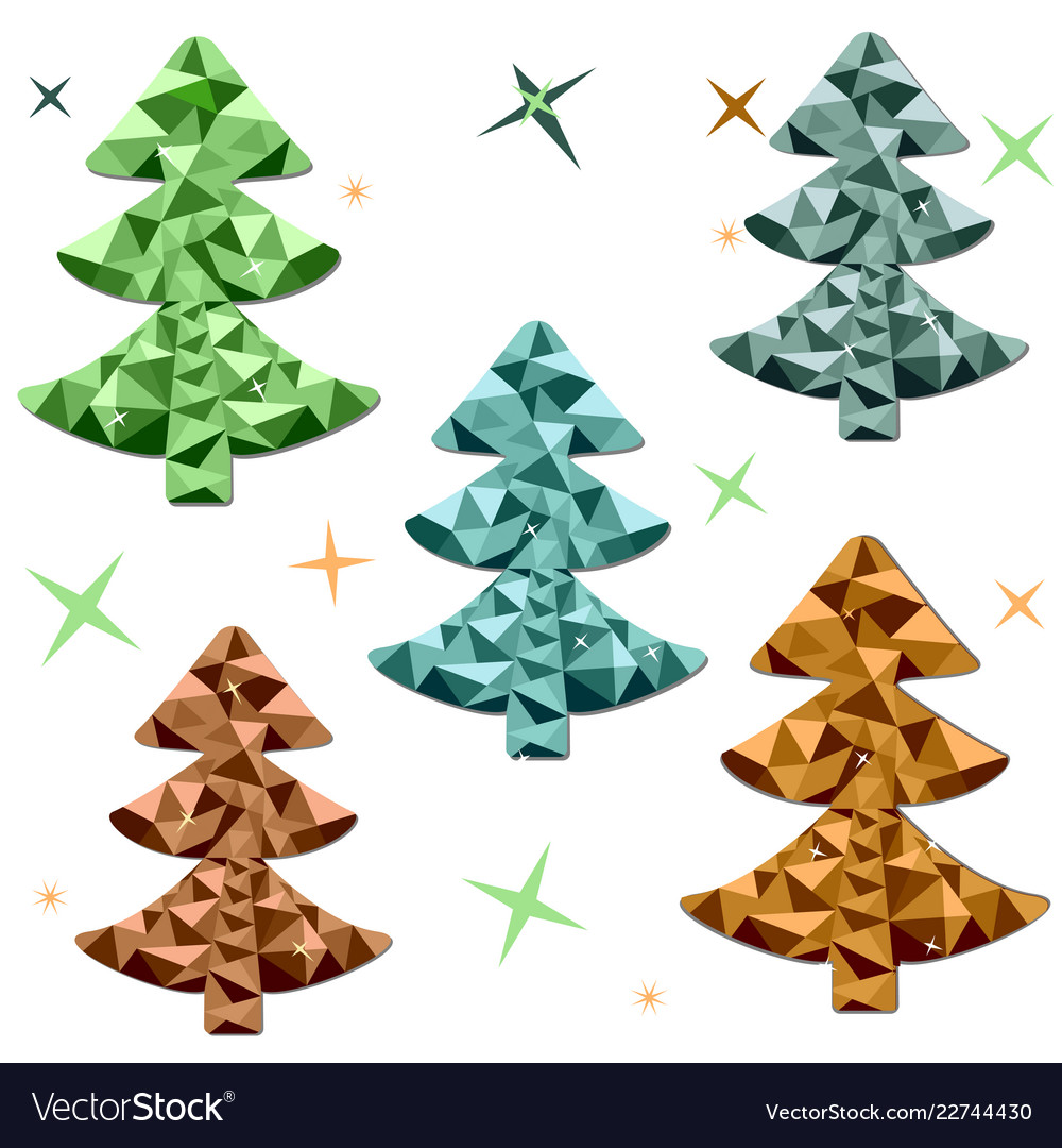 Colored polygonal christmas trees on a white