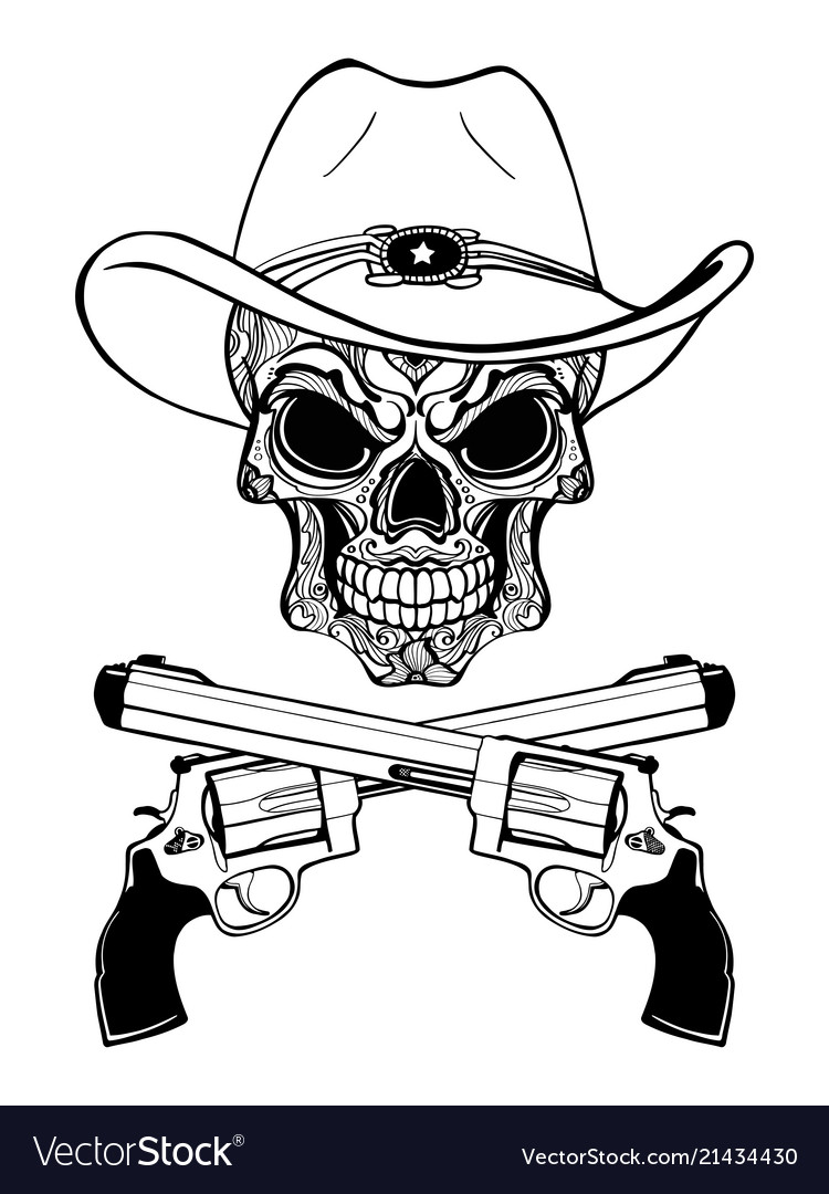 Cowboy skull in a western hat and a pair of