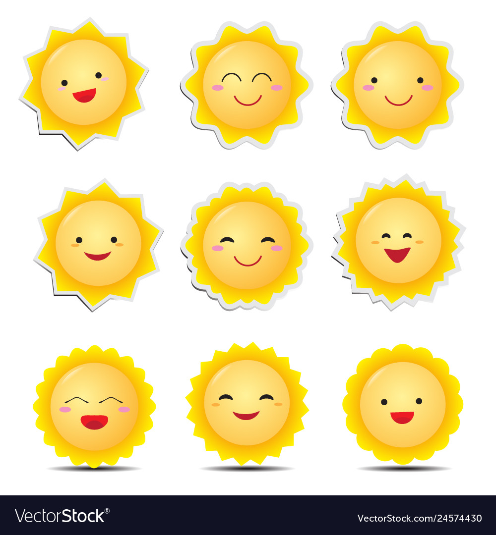 Cute cartoon sun emoticons