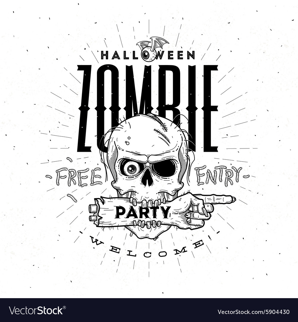 Halloween party poster with zombie head and hand
