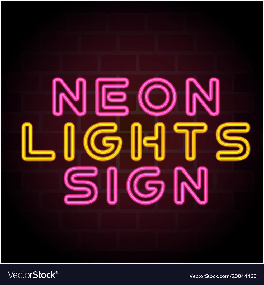 Neon Lights Sign Black Background Image Vector Image