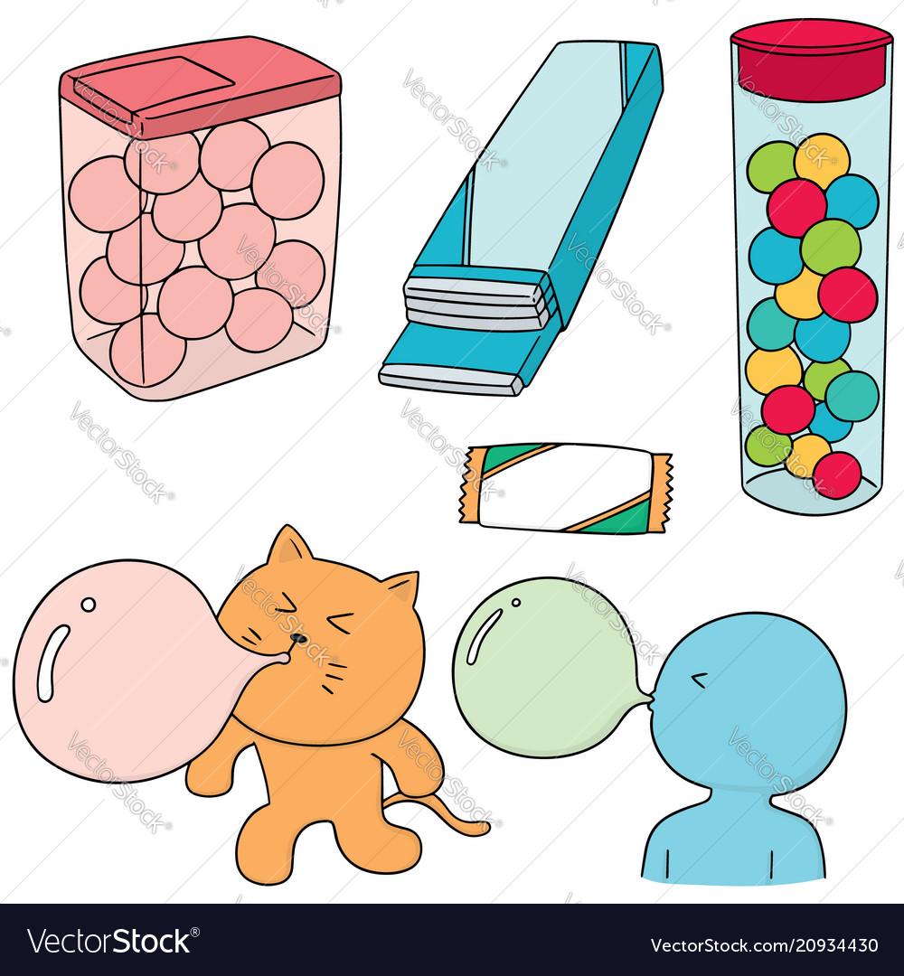 Set of bubble gum vector image