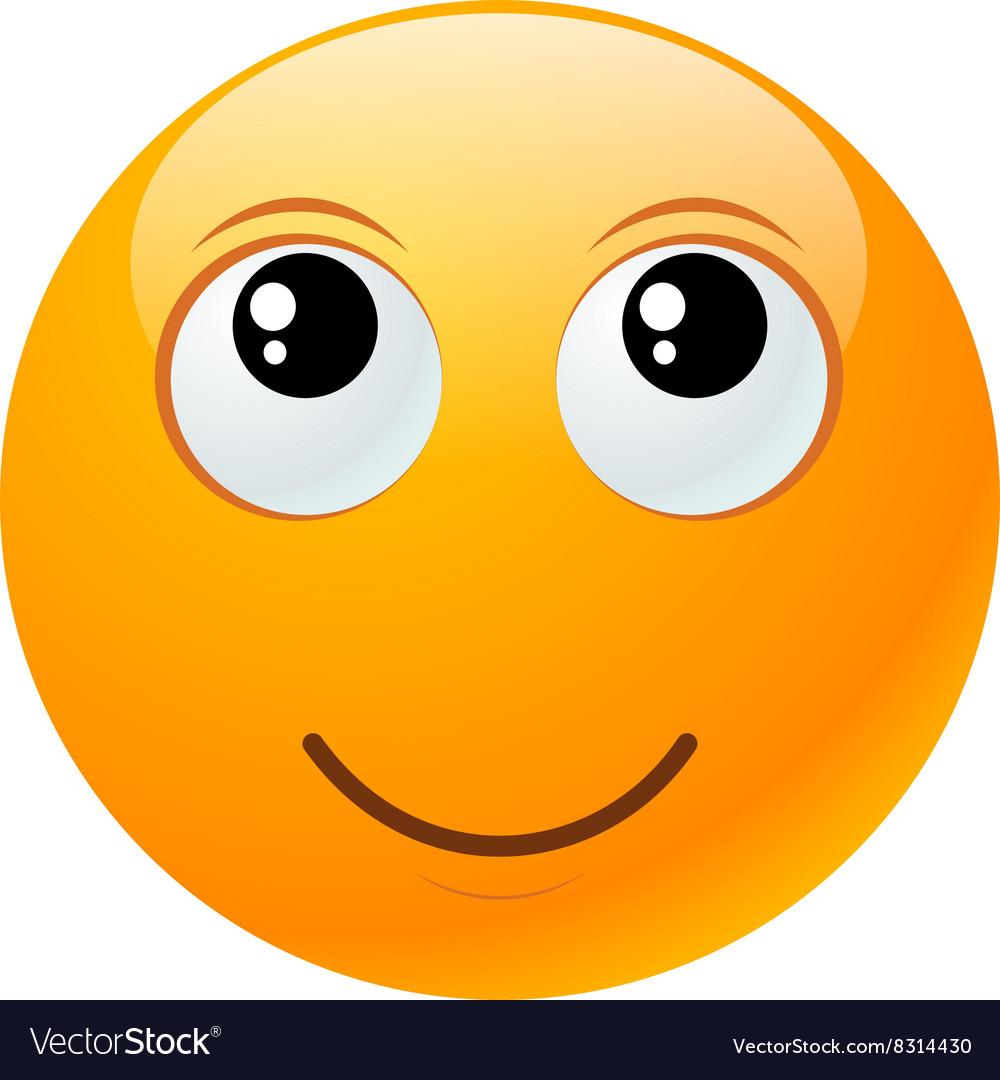 Yellow round emoticon vector image