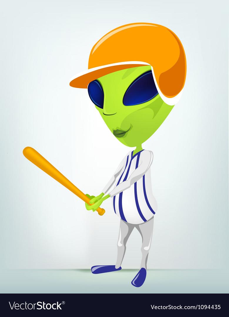 Cartoon Alien Baseball vector image