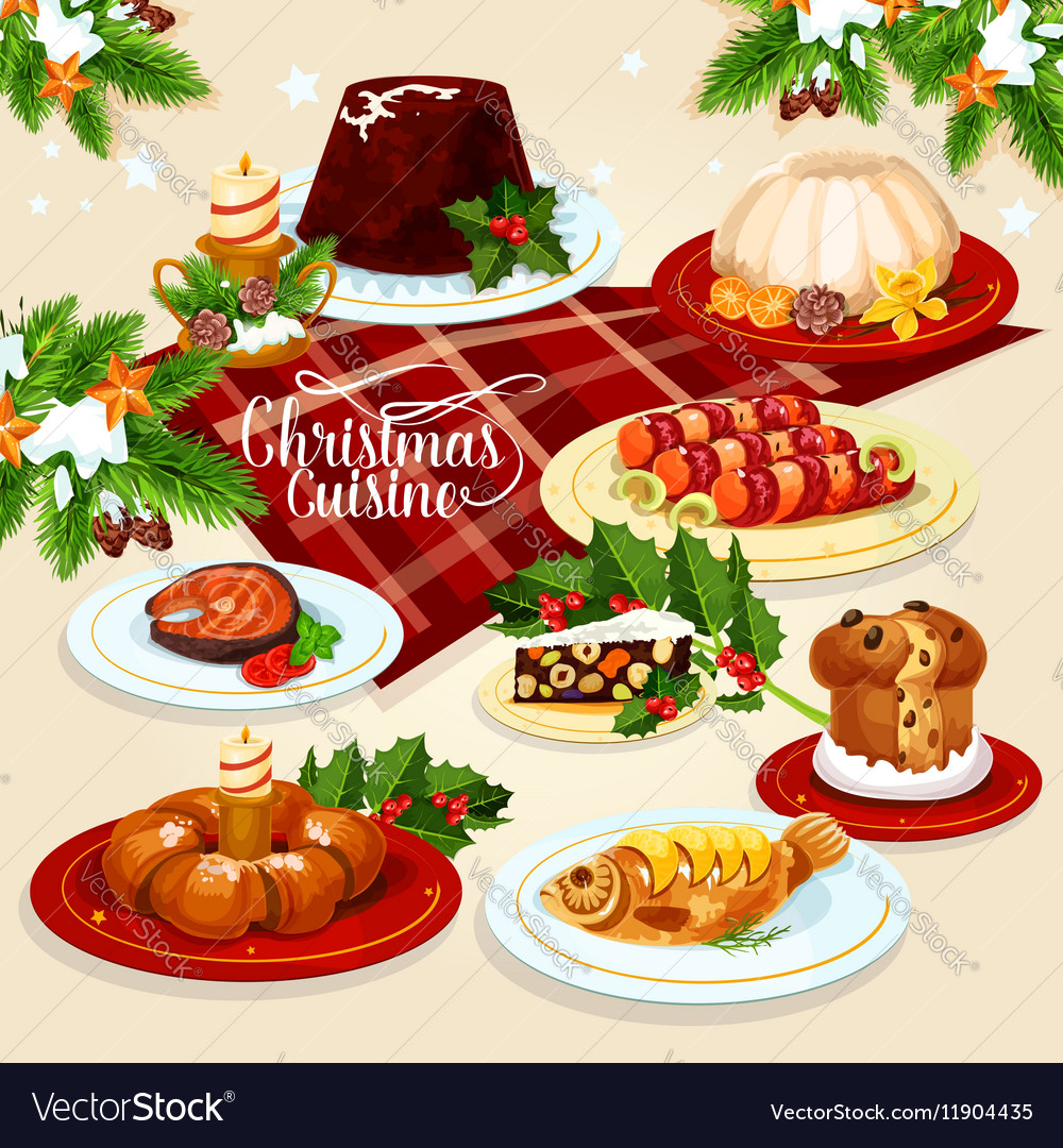 christmas food icon with meat fish pastry dishes vector image