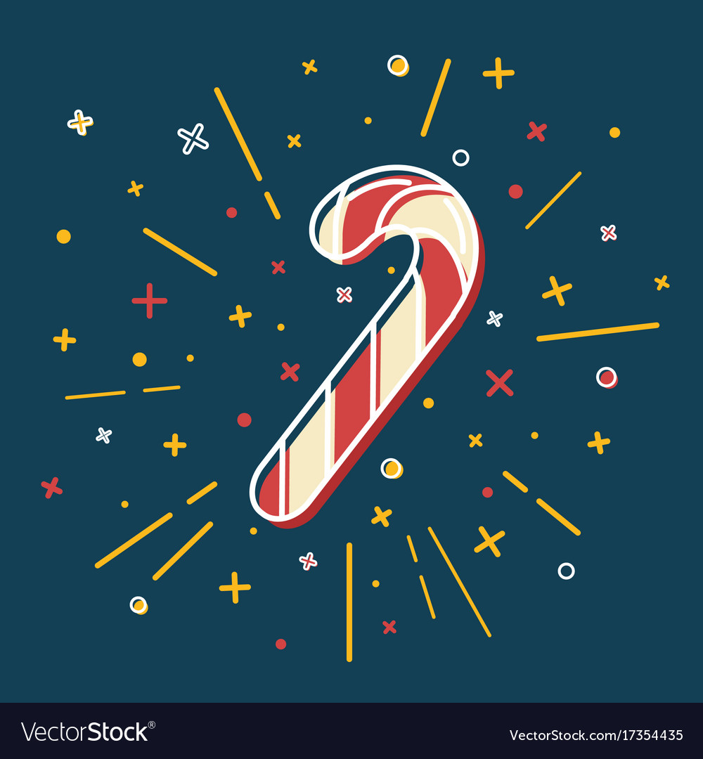 Colored christmas candy cane icon in thin line vector image