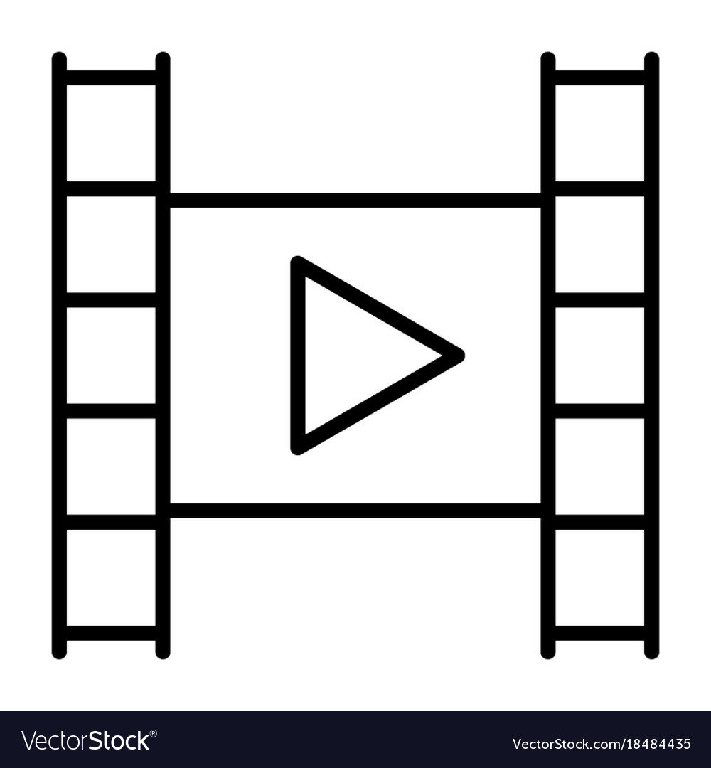 Film strip with play button line icon video sign