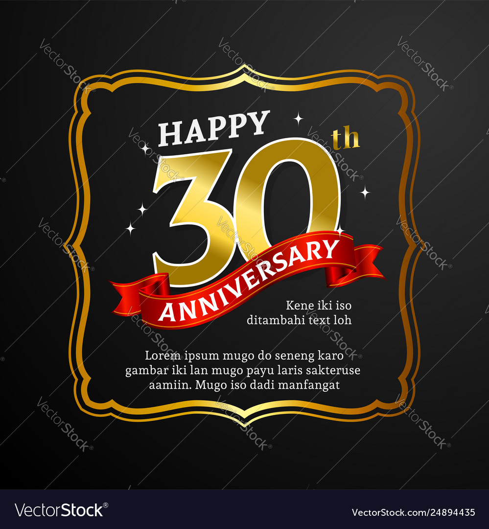 Happy 30th Anniversary Background Design Vector Image