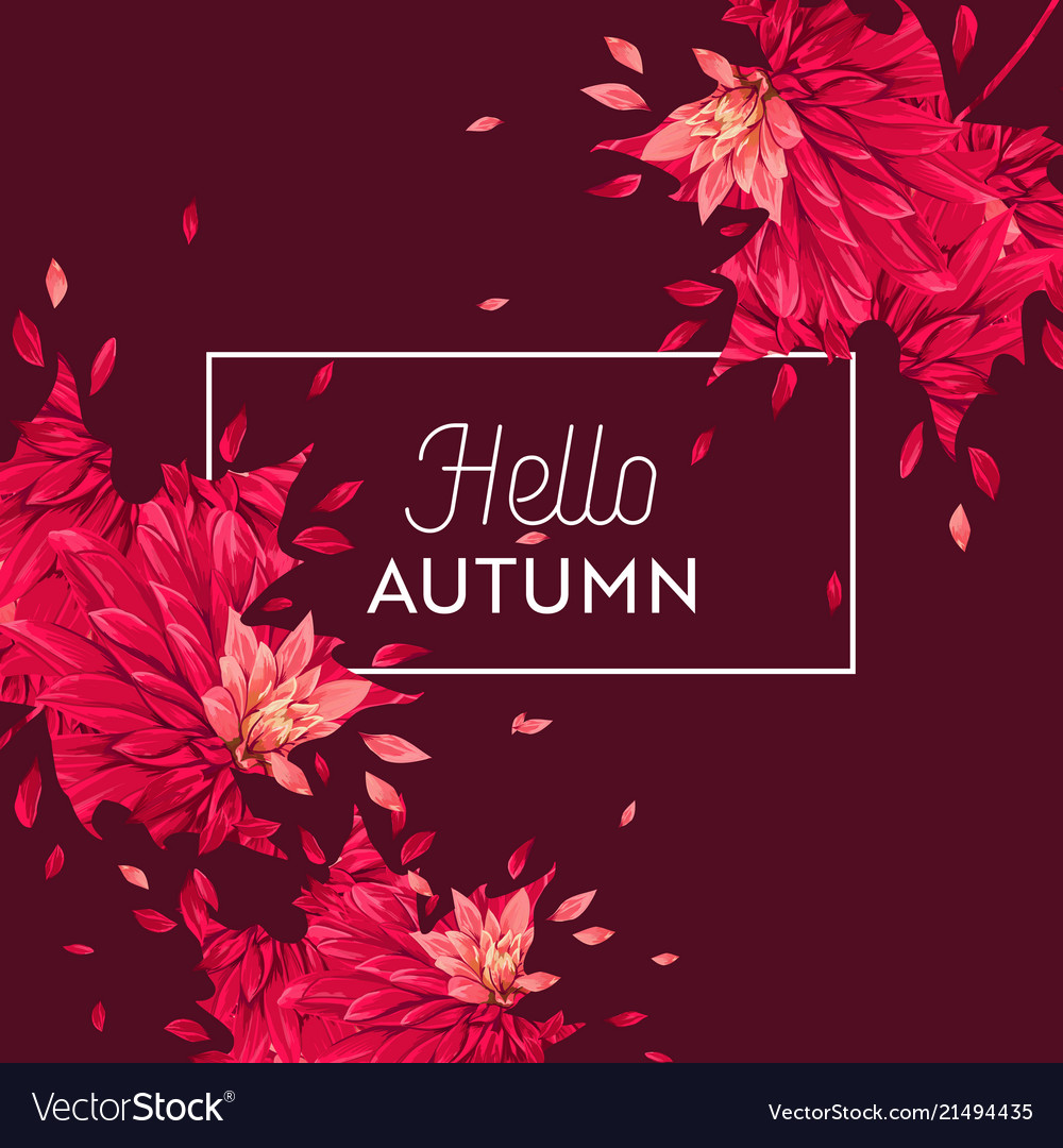 Hello autumn watercolor floral design flowers