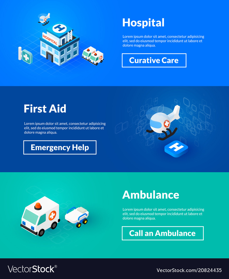 Hospital first aid and ambulance banners of