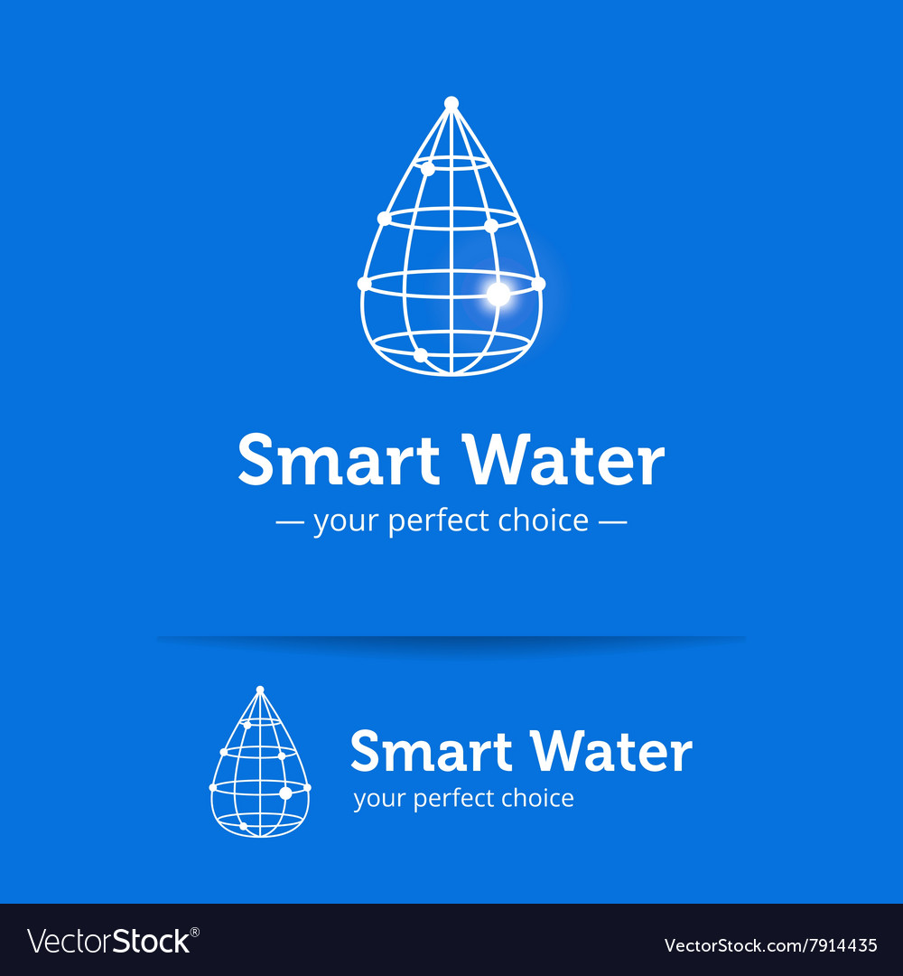 Line style clean water drop logo Wireframe