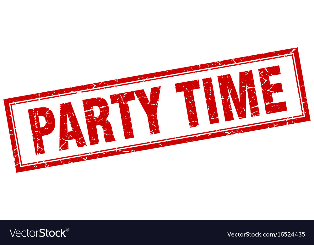Party time red grunge square stamp on white vector image