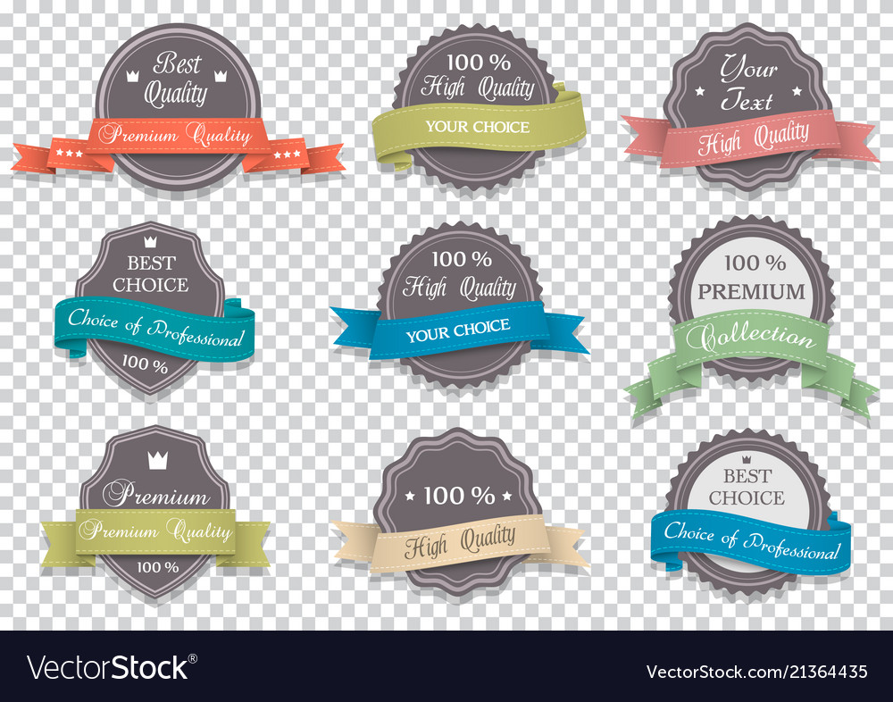Premium quality labels on transparent background